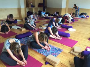 Yoga class with gong bath